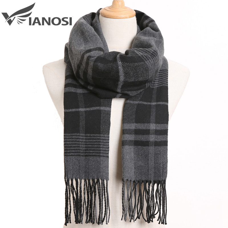 [VIANOSI] 2019 Luxury Design Men Scarf Foulard Plaid Scarves Poncho Casual Winter Scarfs Male Bufandas Hombre