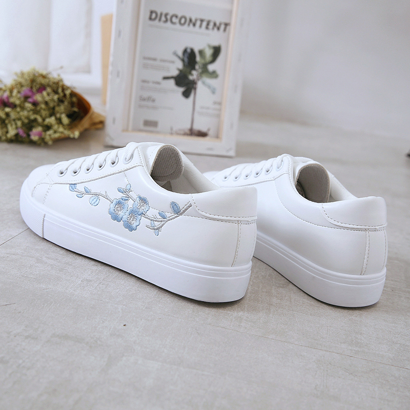 Summer Women Sneakers Fashion Breathble Vulcanized Shoes Pu Leather Platform Lace Up Casual White Embroidered
