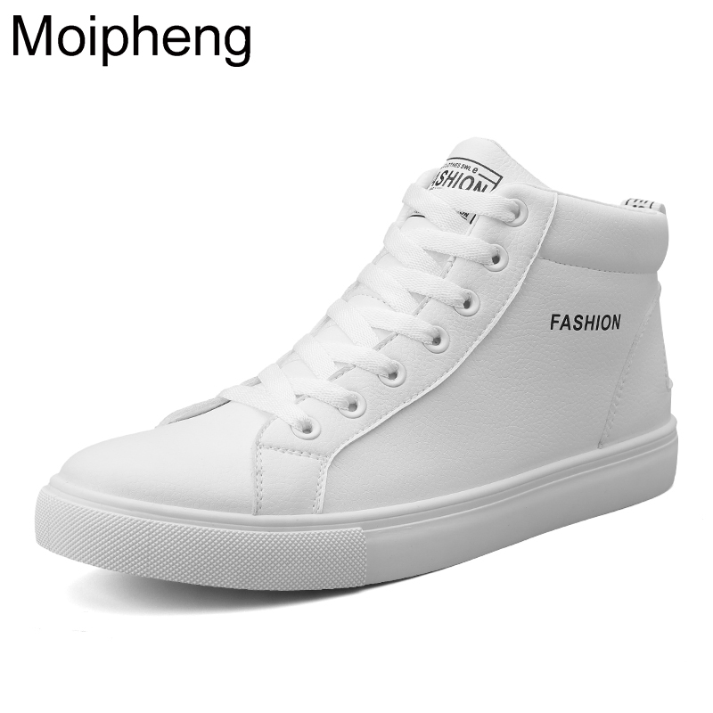 Moipheng Sneakers Women 2019 Autumn Winter Plush High Top Shoes White Sneakers High Quality PU Lace Up Increasing Height Shoes