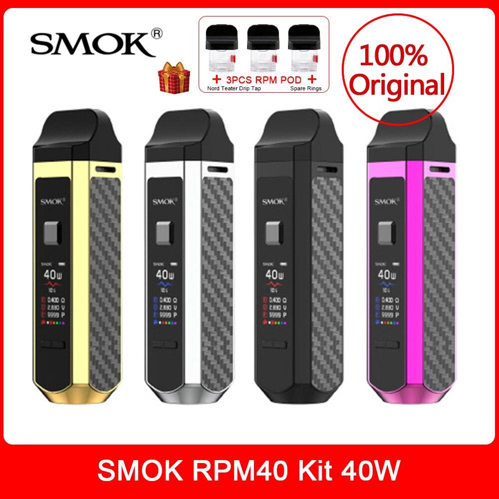 Jogo original 40 w de smok rpm40 com 1500 mah bateria 4.3ml & 4.5ml pod cartucho rpm rba malha sc tela tft nord pod vs novo