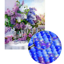 Wall Hanging Crafts Gift Full Drill 5D DIY Arts Rhinestone Diamond Painting Set Embroidery Purple Lavender Vase Living Room(China)