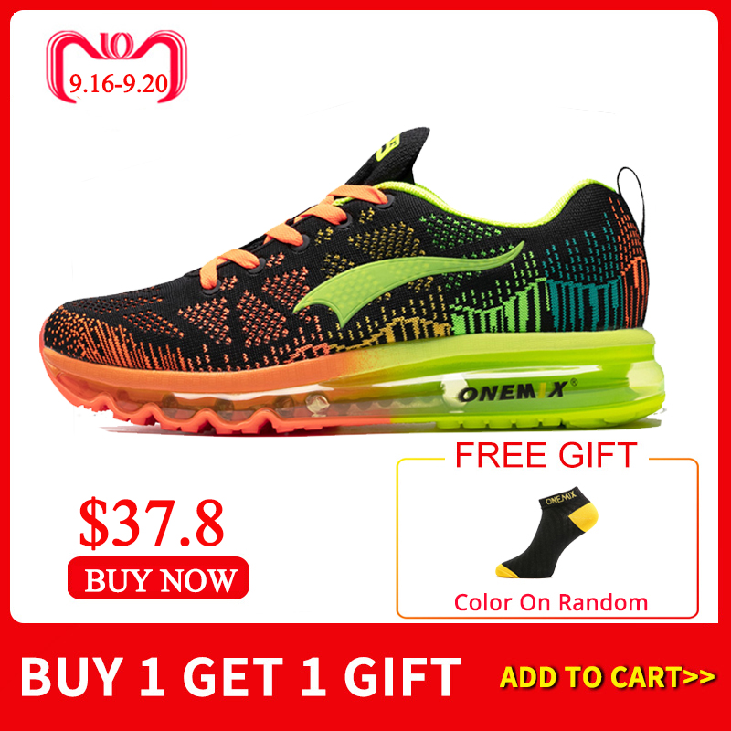 ONEMIX Men's Sport Running Shoes Music Rhythm Men's Sneakers Breathable Mesh Outdoor Athletic Shoe Light Male Shoe Size EU 39 47-in Running Shoes from Sports & Entertainment    1