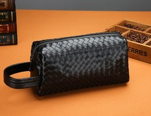 Classic Cool Men PU Knitting Clutch Business Handbag
