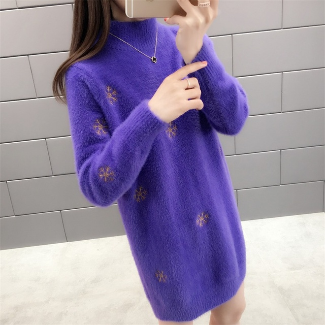 With winter half a turtleneck imitated mink knitted snowflakes in long sweater 45