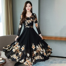 Wholesale Women Autumn Dress Floral Prin