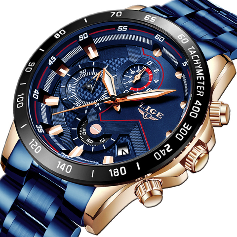 2019 New Mens Watches LIGE Top Luxury Brand Business Blue Stainless Steel Quartz Watch Mens Casual Waterproof Date Chronograph Multan
