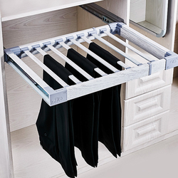 Clothes Hanger Trousers Rack Telescopic Pants Rack Push-pull Damping Double-row Cabinet Pant Racks Thicken Hardware