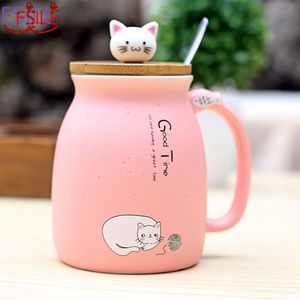 450ml novo gato de gergelim calor-resistente copo cor dos desenhos animados com tampa copo gatinho leite café caneca cerâmica crianças copo presentes de escritório