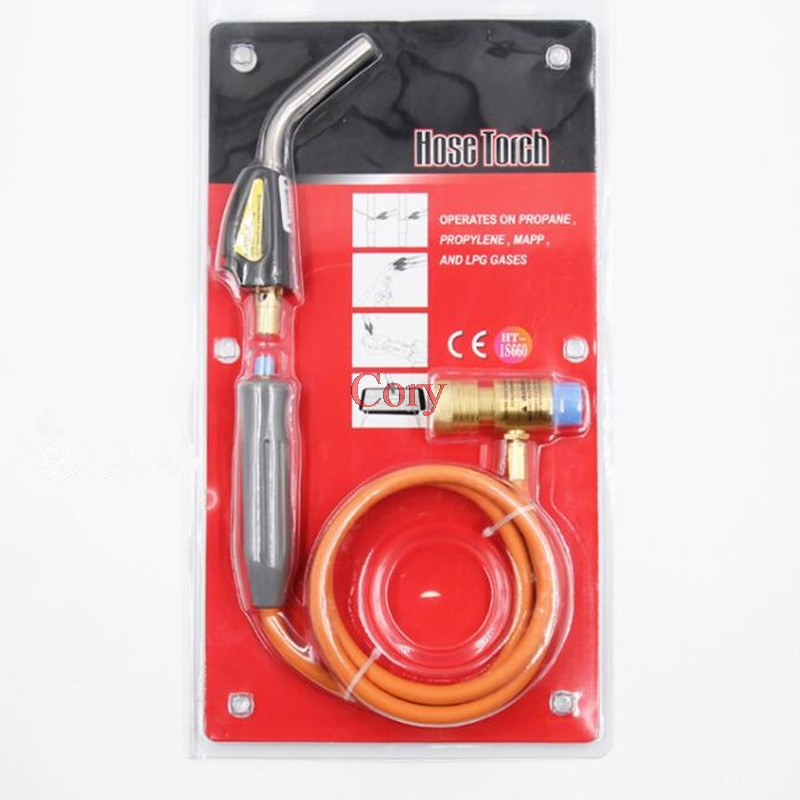 1PC 1.5m Hose Torch Operates On Propane,Propylene,MAPP,And LPG Gases Braze Welding Torch Self Ignition Connection Torch Hand