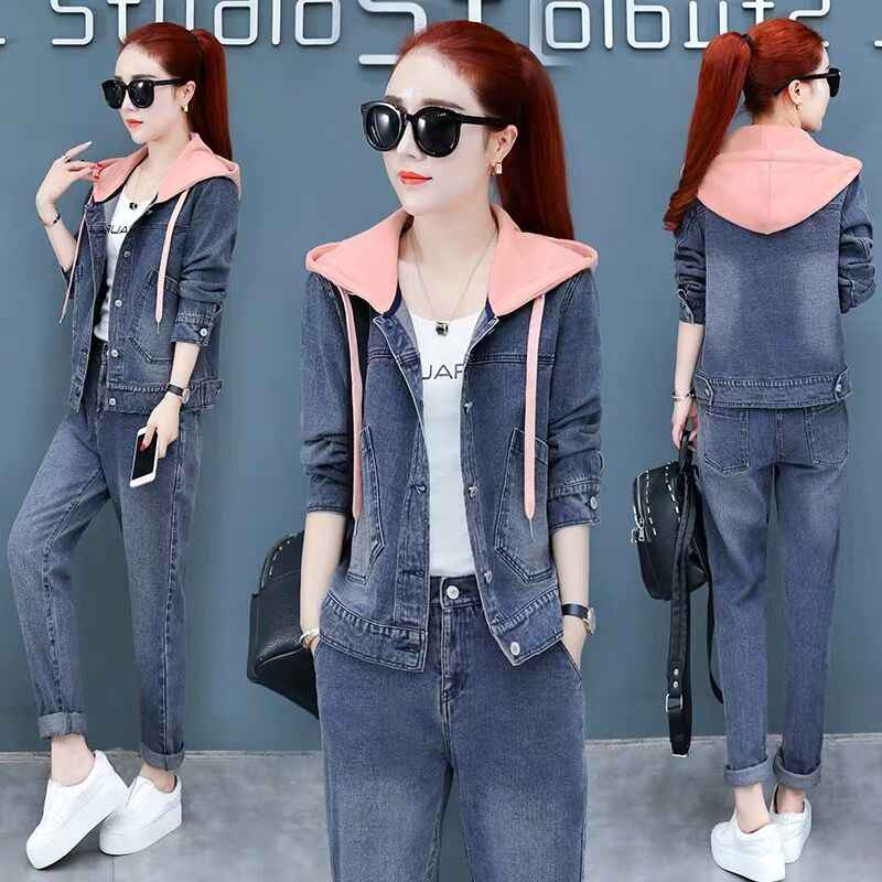Denim Casual Tracksuit For Women 2019 Autumn New Loose Hooded Jacket And Long Pants Fashion Suit Cowboy Two Piece Set Female