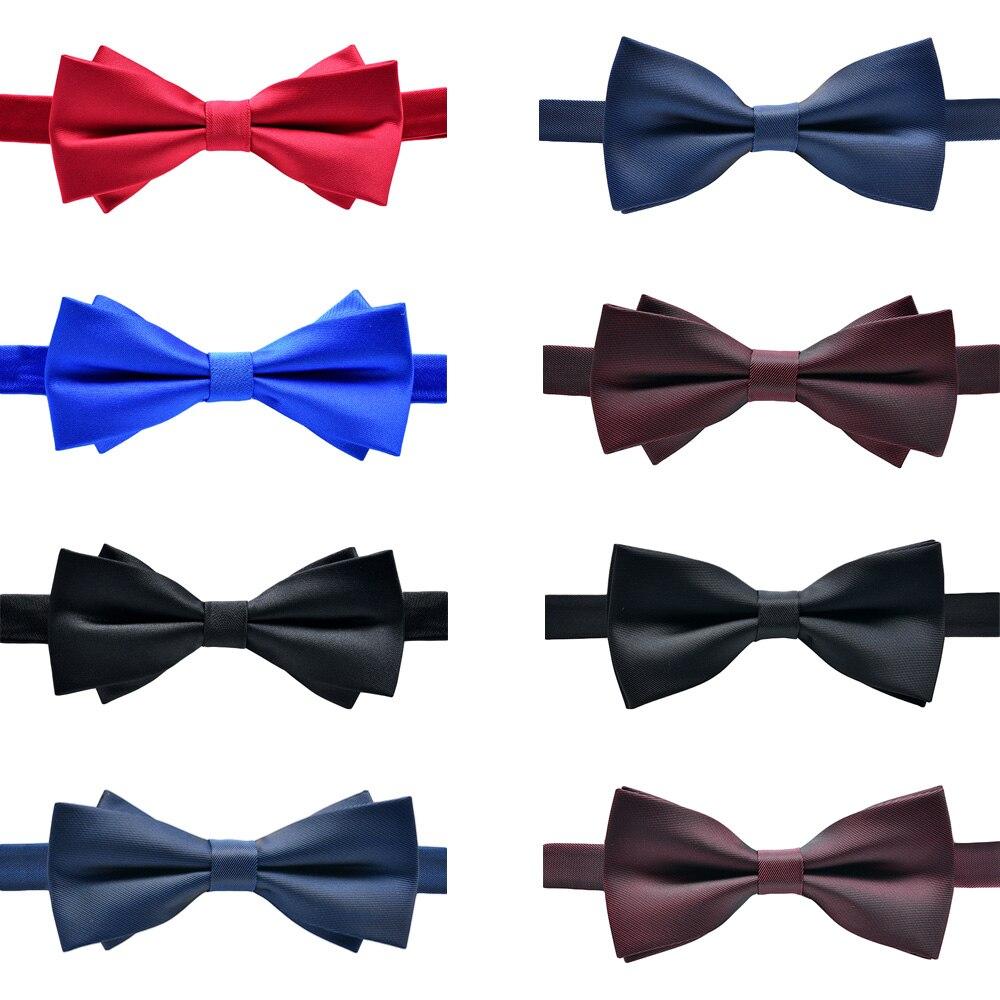 Men Solid Pre-tied Tuxedo Diamond Tip Bow Tie Double Layer Stripe Necktie Bowtie