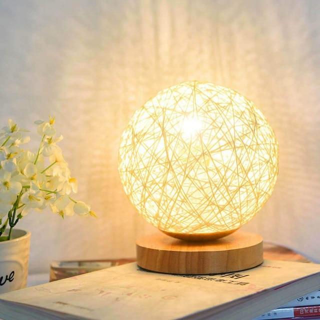 lampe lune en bois