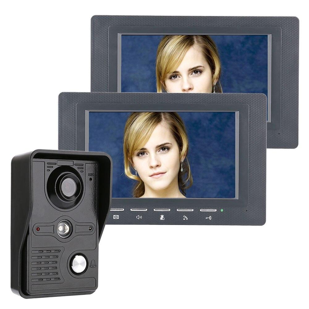 7 Inch Video Door Phone Doorbell Intercom Kit 1-camera 2-monitor Night Vision With IR-CUT CMOS 700TV Lines