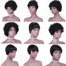 HJ Weave Beauty Short Bob Wig Peruvian Straight Full Machine Wigs For Black Women 9 Textures Natural Color 100% Human Hair Wigs(China)