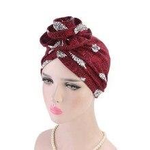 Turban-Caps Hijab Bonnet Headscarf Hair-Loss-Hat India Print Big-Flower Cotton Fashion