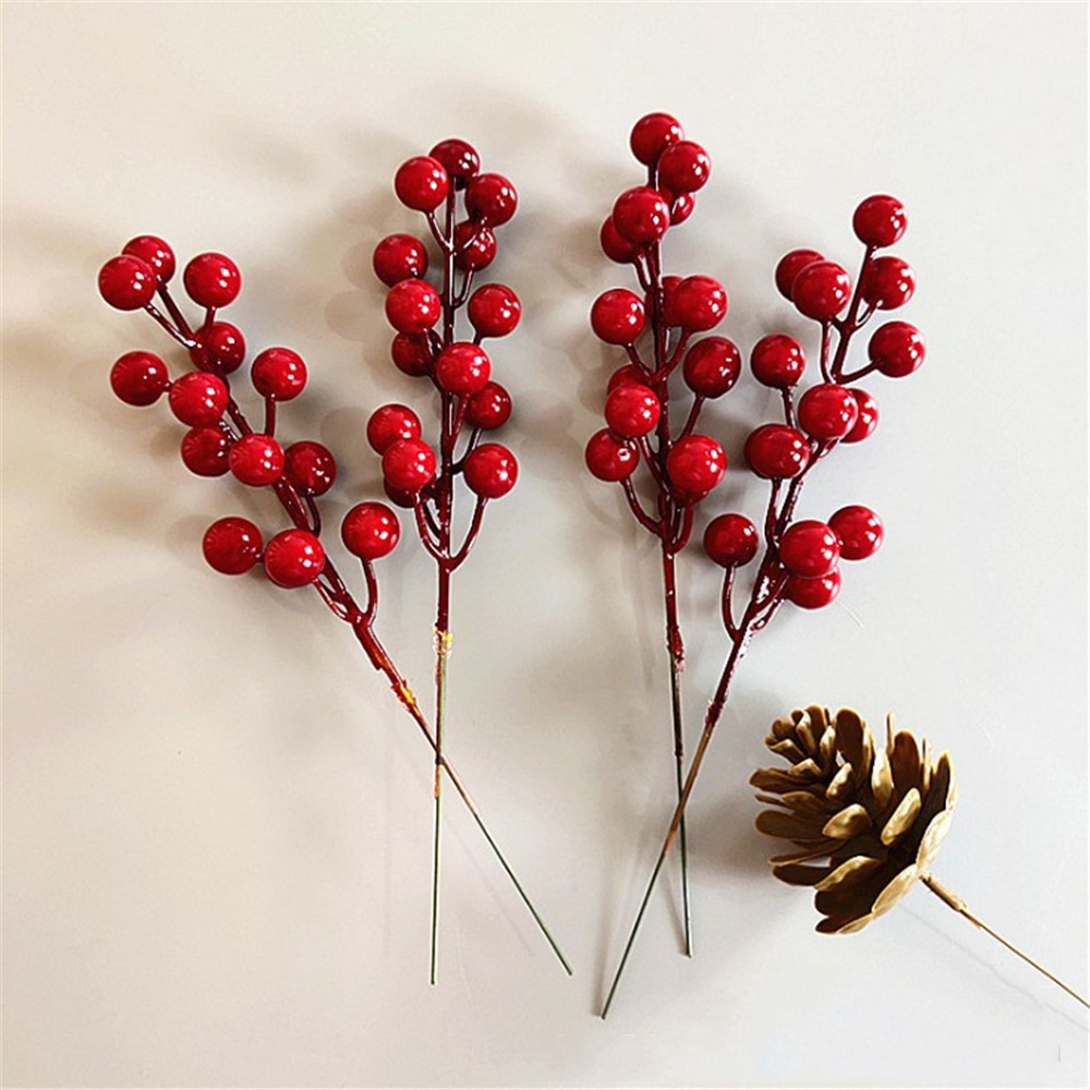 2Pcs Artificial Plants Plastic Fake Flowers 14 Head Artificial Berries Branch Decorative DIY Red Berry For Home Christmas Decor