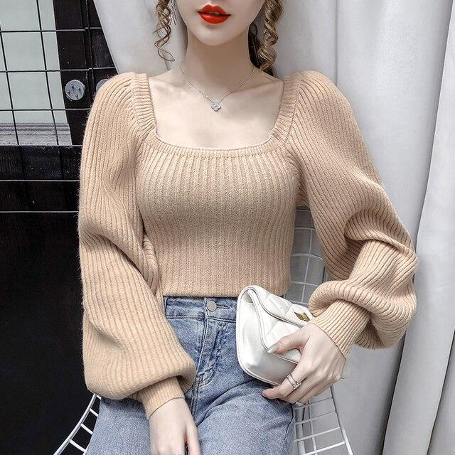 Pull à manches bouffantes pour femmes, pull-over à col carré doux et tricoté, hauts épais