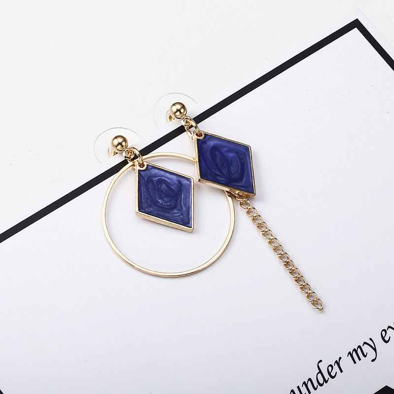 CARTER LISA 2019 Hot Fashion Fine Jewelry Beautiful Gold Color Pierced Rhinestone Asymmetric Square Stud Earrings For Women Gift