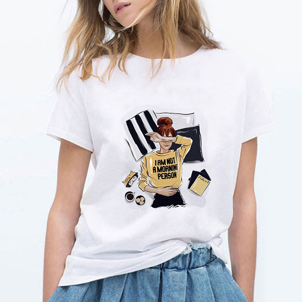 High Quality Women's Fashion I AM A MORNING PERSON Modern Girl T-shirt Gym Oversize Hip Hop Vintage T Shirts Women Clothes