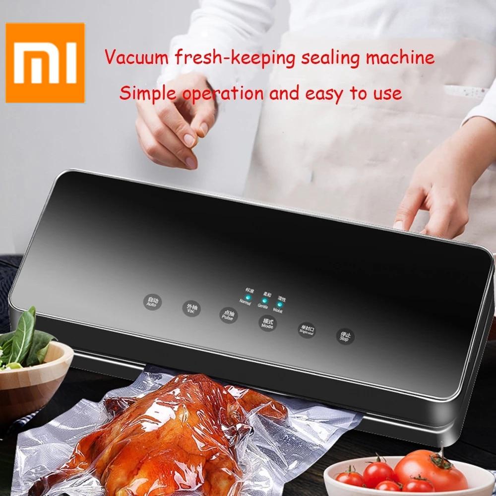 Xiaomi mijia aferidor do vácuo elétrico máquina de embalagem para casa cozinha para selagem máquina de embalagem fresca para a preservação de alimentos