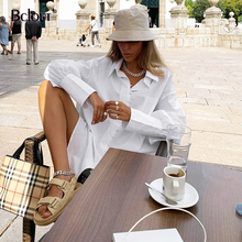 Bclout White Button Up Blouse Shirt Office Loose Long Sleeve Tunic Tops Turn Down Collar Casual Women Top Spring Cotton Mujer