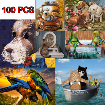 100 Pieces Jigsaw Puzzle PET Picture Cat Dog Puzzles Toy for Adult Children Kids Educational Gift 1