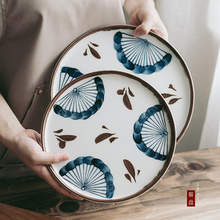 Plato de cena clásico pintado a mano japonés KINGLANG, plato de cerámica especial seguro para microondas, Bol para postre, plato de ensalada, bol de arroz