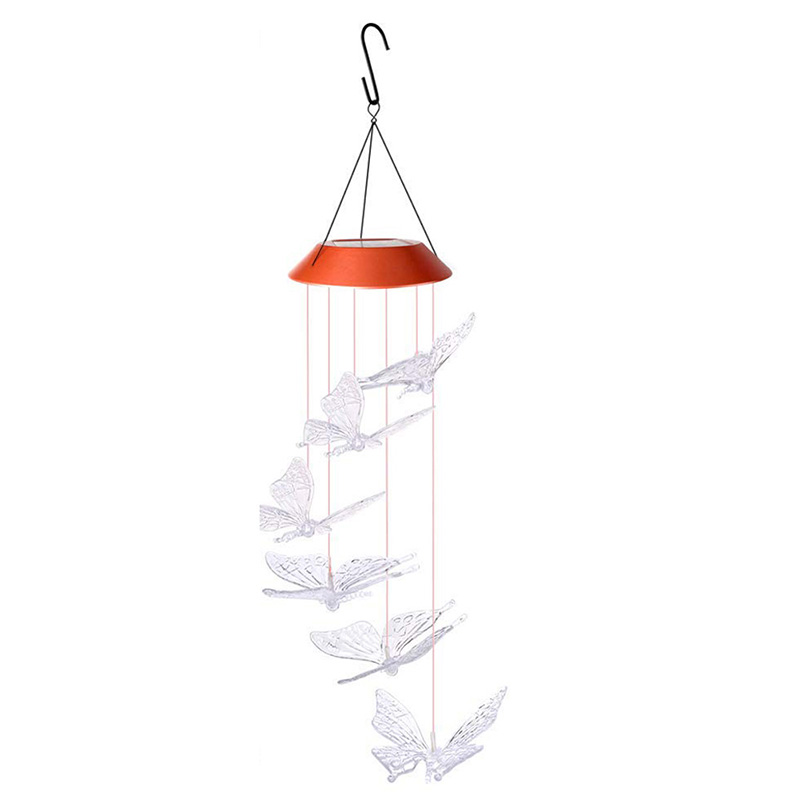 Wind Chime Solar Butterfly Wind Chimes Outdoor Indoor Color Changing Solar Light Mobile  Memorial Wind Chimes  Butterfly Wind Ch|Solar Lamps| |  - title=