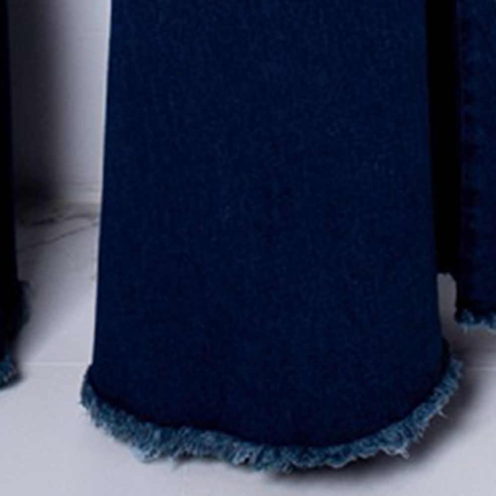 Женские Осенние эластичные большого размера свободные джинсовые карманы с высокой талией на пуговицах расклешенные джинсы женские повседневные брюки-клеш широкие джинсы