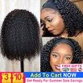 Глубокая волна парик с головной повязкой человеческие волосы парик с пучком волос без клея парик, короткие кудрявые парики для Для женщин ...