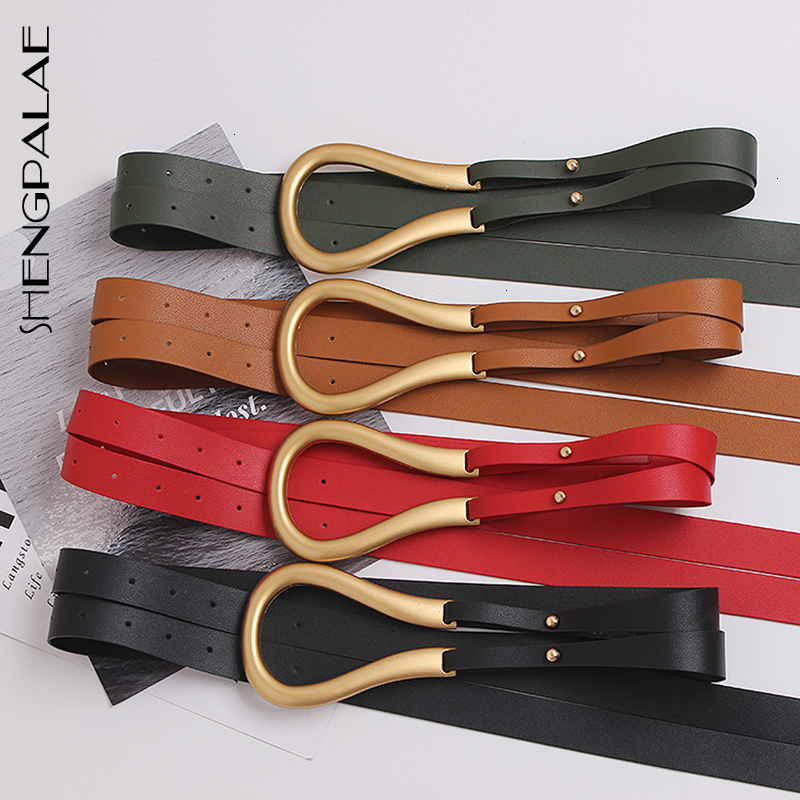 SHENGPALAE Casual PU Leather Women's Belts Hit Color Novelty Double Long Belt For Female 2020 Fashion Accessories Tide 5D173
