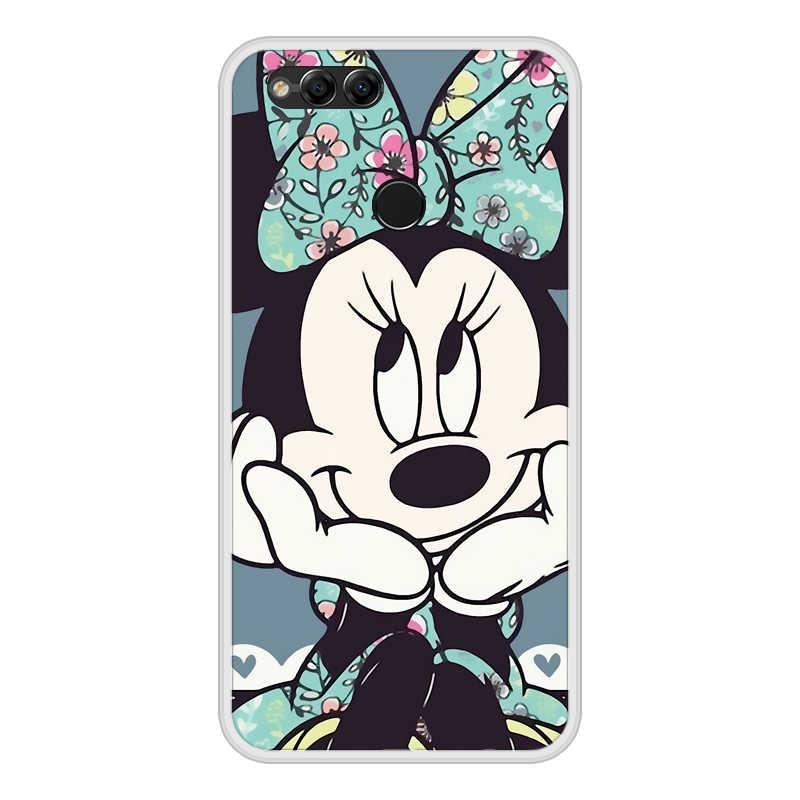 Capa de silicone para huawei honor 7 8 9 10 lite tpu macio bonito mickey capa para honra 8x max 10 9 8 7 s 7x 7c pro caso de telefone