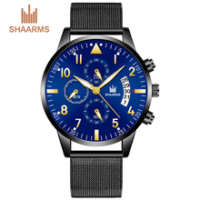 SHAARMS Watch Men Waterproof Casual Luxury Brand Quartz Military Watches Business Man Clock Mens Wristwatch Relogio DropShipping steel master quartz white black vogue business military man men s watches 3atm waterproof dropshipping