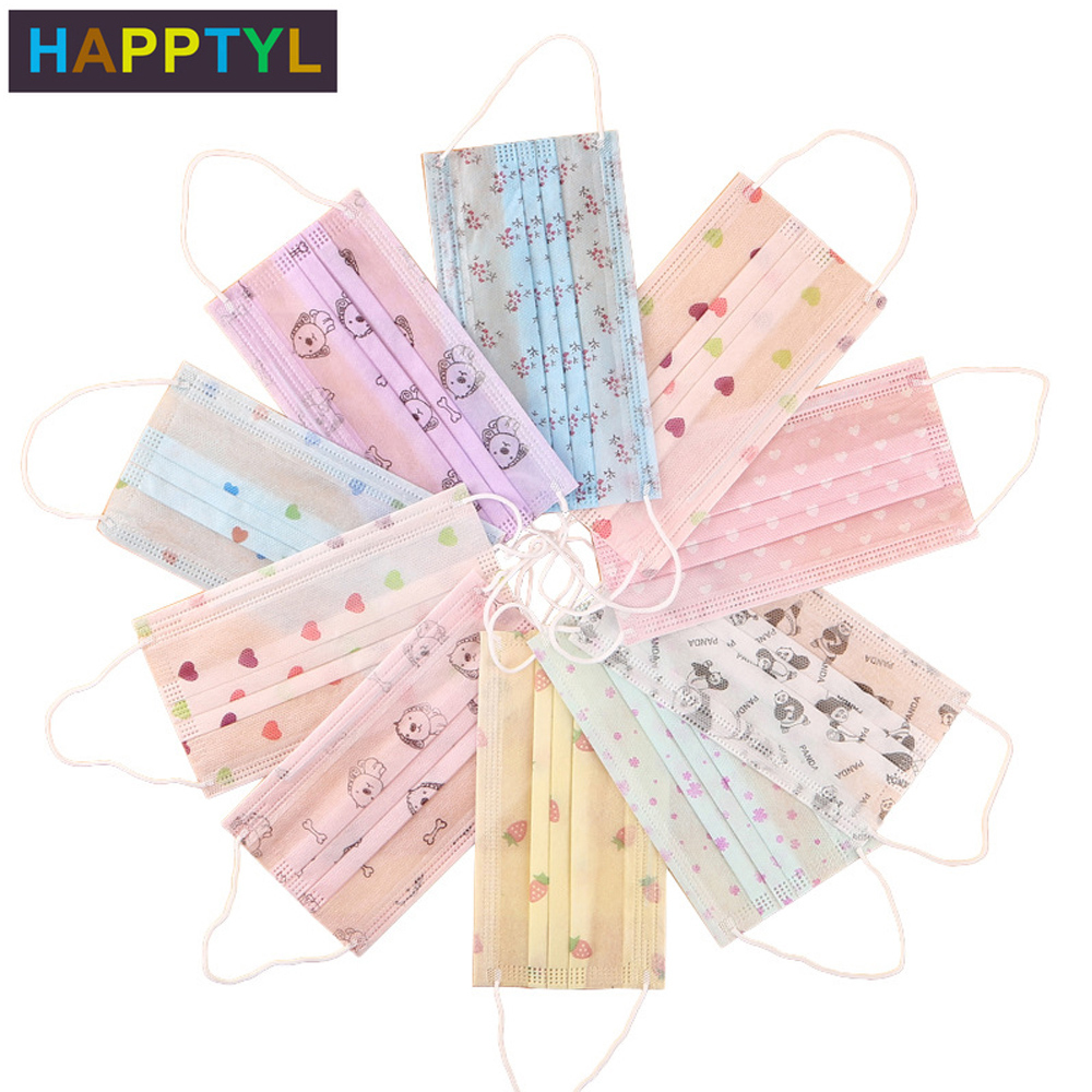 HAPPTYL 10Pcs/Set Disposable Face Mask 3 Layer Non-woven Earloop Face Mask Dust Filter Women Men Mouth Cover Mask