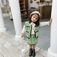 2019 Autumn New Arrival Korean style clothing sets plaid vest with mini skirt fashion princess suit for sweet baby girls