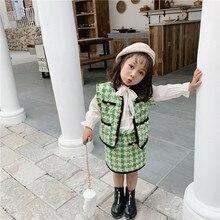 2019 סתיו חדש הגעה קוריאנית סגנון בגדי סטים משובץ אפוד עם מיני חצאית אופנה נסיכת חליפת עבור תינוק מתוק בנות