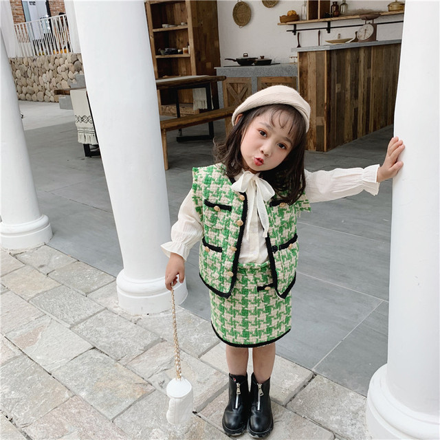 2019 الخريف جديد وصول الكورية نمط مجموعة ملابس منقوشة سترة مع تنورة صغيرة أزياء الأميرة دعوى للفتيات طفل الحلو