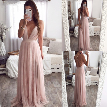 Sexy Deep V Neck Evening Dress Summer Backless Pink Elegant Lace Evening Maxi Dress Holiday Long Party Dress Ladies 2020 contrast color v neck backless maxi dress