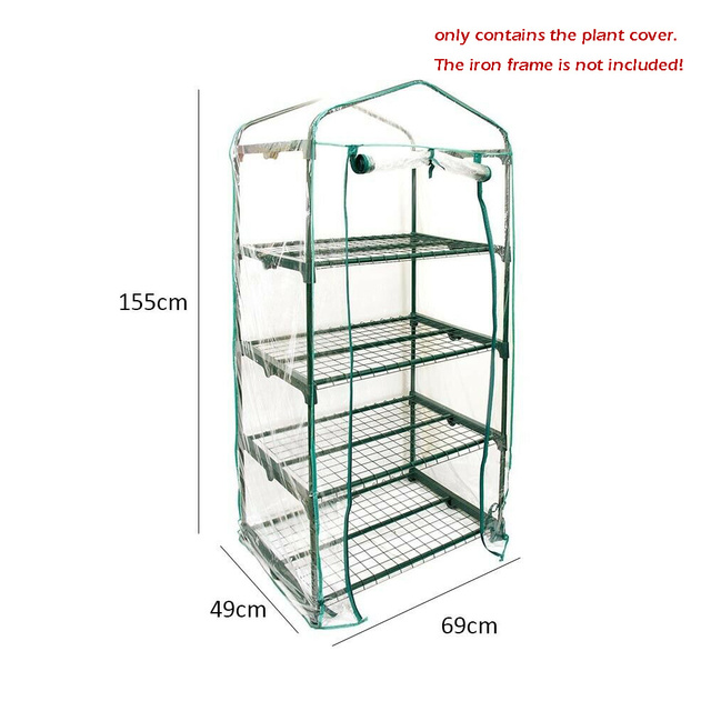 Small Greenhouse Bag Garden Plant Cover Clear PVC Plastic Growbag Box 4 / 5 Tier Growing Tents NO Stand