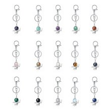 ASHMITA Natural Fairy Stone Pendant Keychain for Women Custom Angle Wing Magic Wand Crystal Key Chain Silver Metal Keyring(China)