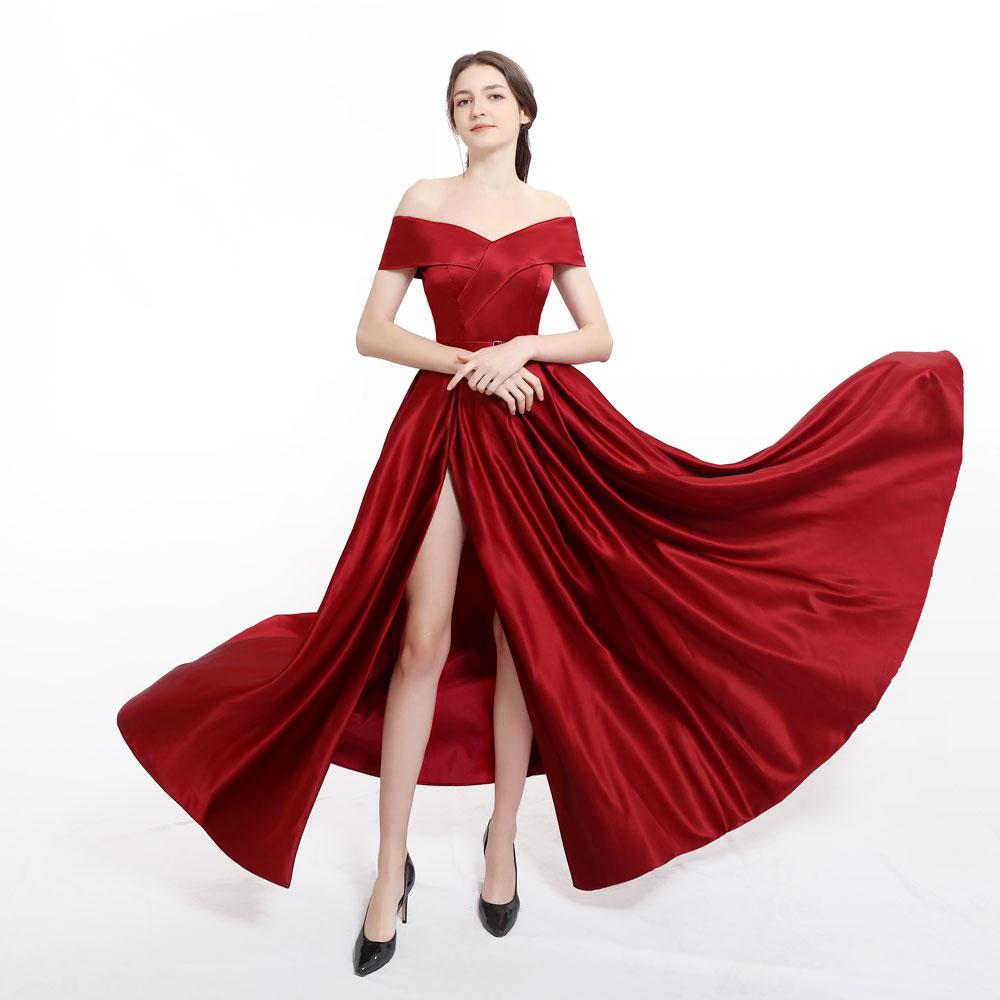 New arrival Burgundy evening Dress Formal vestido noiva sereia prom party robe de soiree luxury frock sexy side slit pockets 4