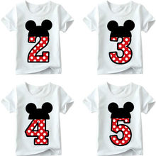 Kids T-shirt 2019 New Boy Girl Happy Birthday Letter Bow Cute Printed Children's Fun T-shirt Round Collar 1-9 No.(China)
