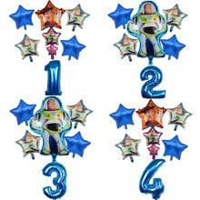 6 uds juguete historia Woody Buzz Lightyear de dibujos animados globos de papel de aluminio de 32 pulgadas número bebé niño azul aire Baloes decoración fiesta de cumpleaños juguetes de los niños
