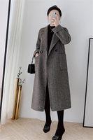 Plus Size 5XL Woolen Coat Autumn and Winter Women's New Fashion Elegant Lapel Ladies Belted Design Long Winter Jacket f2080