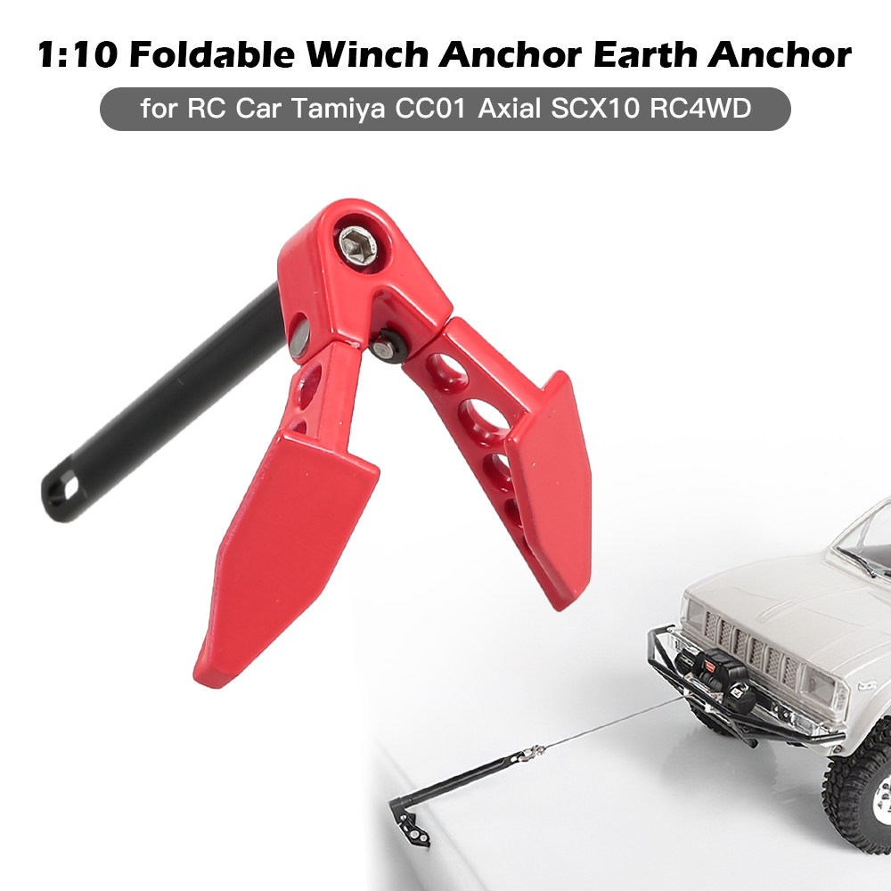 T best RC Car Winch Anchor Metal 1:10 Scale Remote Control Vehicle Winch Anchor Earth Ground Decoration RC Replacement Spare Parts for Axial SCX10 D90 HPI