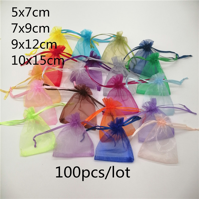 100pcs/lot 5x7/7x9/10x15cm Organza Jewelry Bags Pouch Organza Drawstring Bag Jewelry Packaging For Jewelry Pouches Jewellery Bag(China)