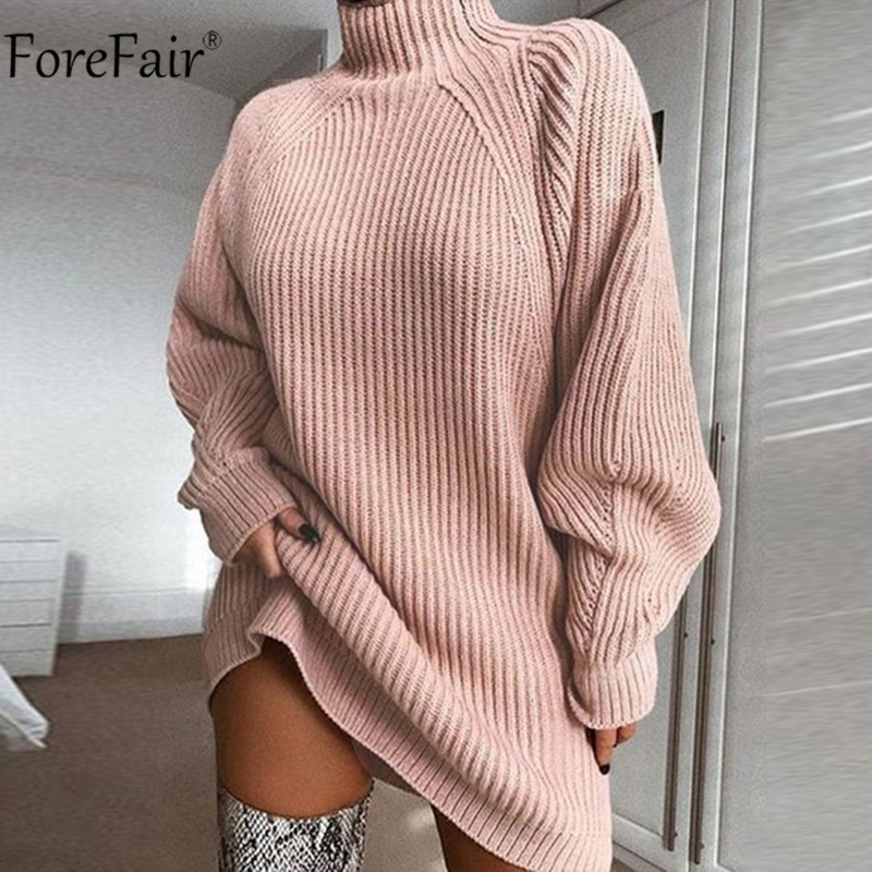 Forefair Turtleneck Long Sleeve Sweater Dress Women Autumn Winter Loose Tunic Knitted Casual Pink Gray Clothes Solid Dresses 7