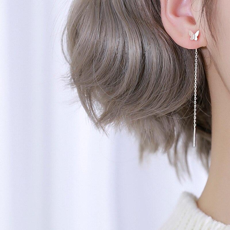 OBEAR  Siver Plated Earrings Tassel Butterfly Chain Earrings omen Fashion Jewelry Gift for Women Birthday Party Gifts