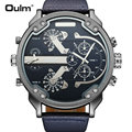 OULM Military Navy Quarzuhr Männer Lederband Dual Zeit Display Große Größe Freund Pop Design DZ Handgelenk Uhren relogio