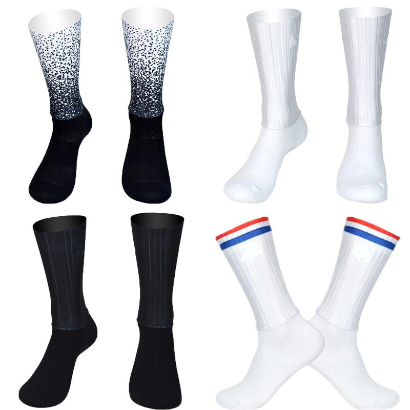 Anti Slip Silicone Seamless Aero Socks New Summer Breathable Cycling Socks Men Women Road Bike Calcetines Ciclismo